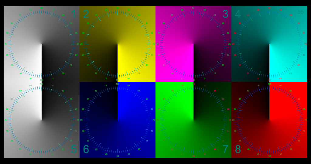 White and Colored Squares with a Radial Gradient and Scale